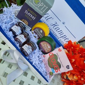 Cheese and crackers hamper thyme thins chilli olives